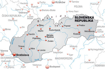 Map of Slovakia with neighboring countries