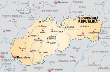 Map of Slovakia as an overview with neighboring countries