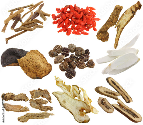 Herbal medicine : Dried Chinese herbs isolated on white