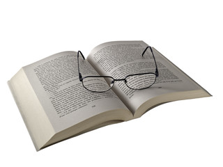 Reading Glasses on an Opened Book