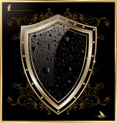 Shield with black water drops
