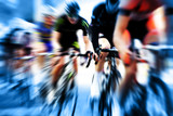 cyclist race blue