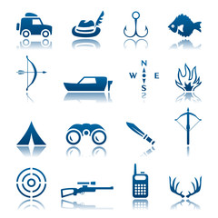 Hunting and fishing icon set