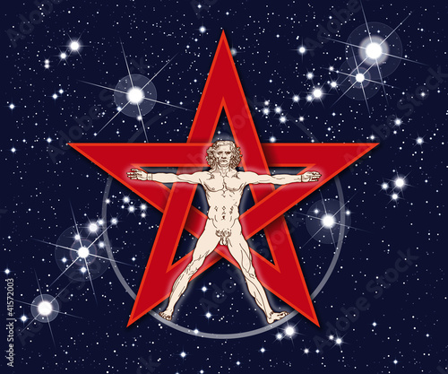 Vitruvian Man, Red Pentagram