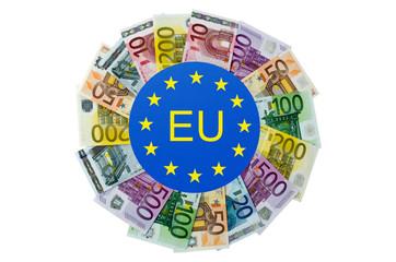 Geldscheine als Kreisdiagramm und EU-Symbol