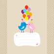 2 Birds With 9 Colored Ballons Speech Bubble Dots