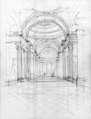 Crayon drawing of Pantheon interior view, Paris, France