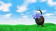 Ladybird carries flowers