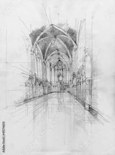 Crayon drawing of Saint Chapelle interior space, Paris, France - 41574650