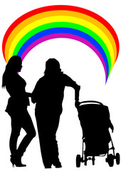 Two women and baby carriage