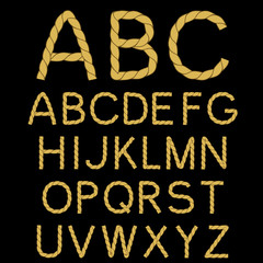 Vector rope font alphabet