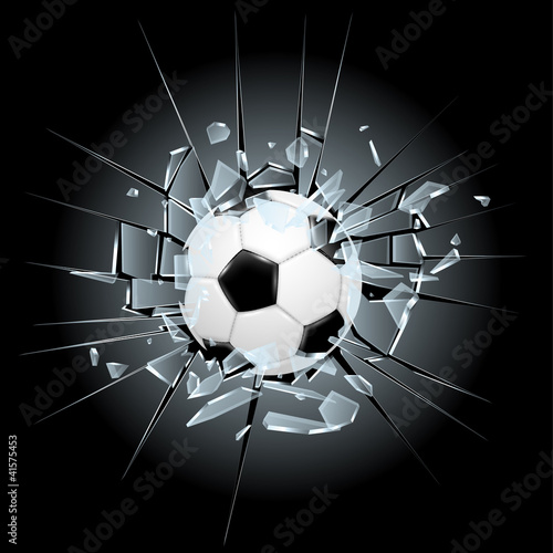 soccer football broken glass