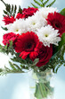 red white flower bouquet in glas vase on turquoise bac