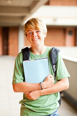 male teen student portrait in school