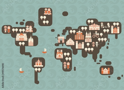 Spoed canvasdoek 2cm dik Op straat funky cartoon map of the world