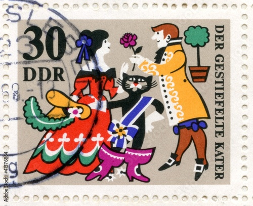 "Canceled german stamp ""Puss in Boots"""