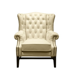 Front of Classic Chesterfield luxury White Leather armchair