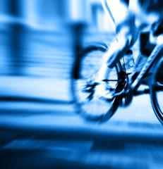 blue cyclist blur