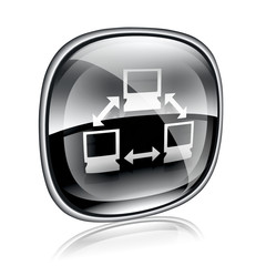 Network icon black glass, isolated on white background.