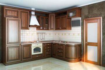 beautiful kitchen interior of wood in the sun