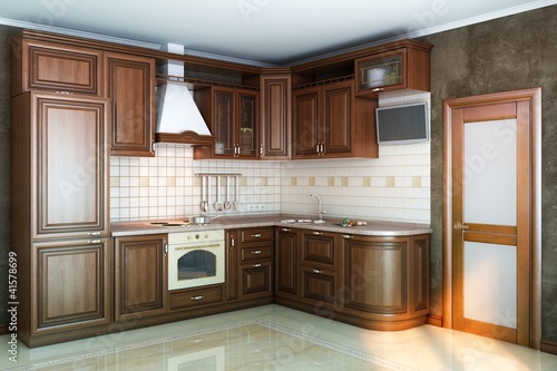 beautiful kitchen interior of wood in the sun