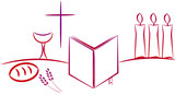 Sacred wine and bread communion Christian symbols