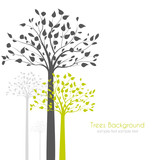 Fototapety trees with leaves on white background
