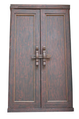 wooden door Thai style  isolated