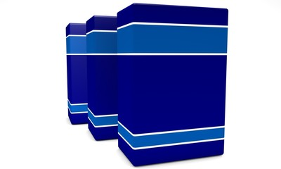 Three blue empty boxes