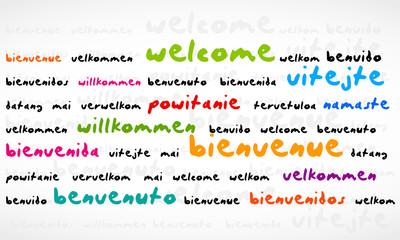 Welcome, Bienvenue, Willkommen Word Cloud