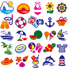 Set of a colorful summer icon
