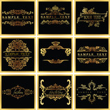 Decorative Ornate Golden Vector Quad Frames