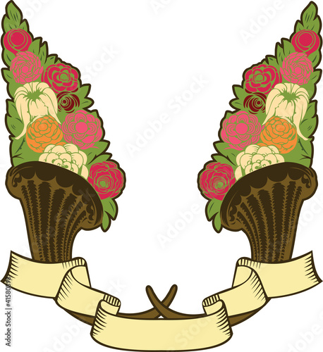 vintage horn of plenty, flowers and banner