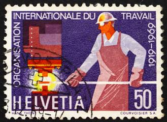 Postage stamp Switzerland 1969 Steelworker, 50th anniversary of