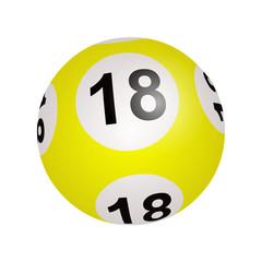 Tirage loto, boule numéro 18