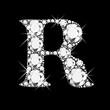 R letter with diamonds bling bling vector