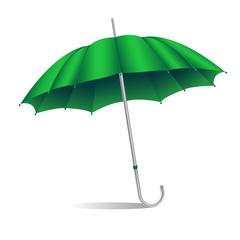 green umbrella isolated on white background