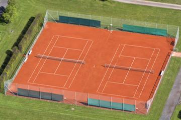 Tennisplatz von oben gesehen