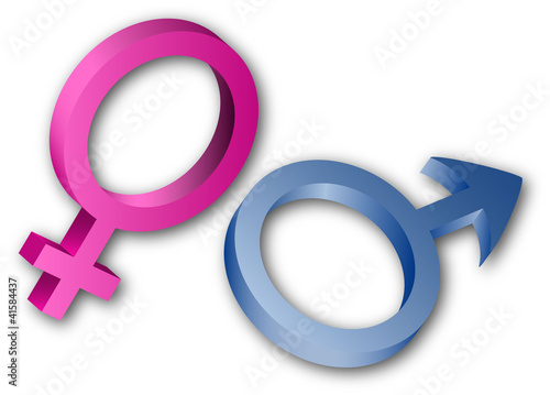 3D female and male sex symbols