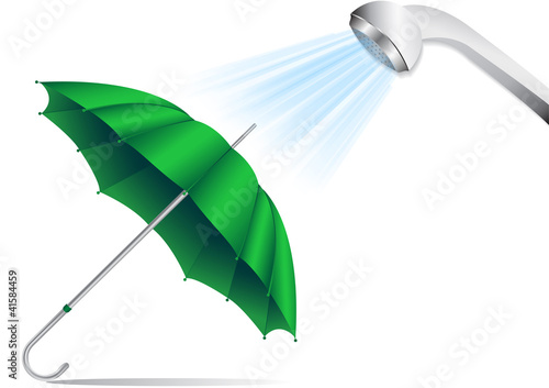 an umbrella under a shower