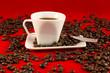 Caffe su fondo rosso