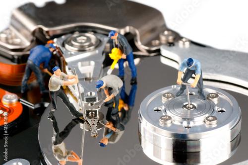 Deurstickers Hard disk repair concept