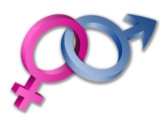 3D female and male sex symbols