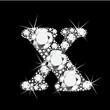 X letter with diamonds bling bling vector