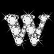 W letter with diamonds bling bling vector