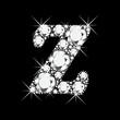 Z letter with diamonds bling bling vector