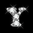 Y letter with diamonds bling bling vector