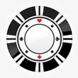 Single black casino chip isolated on white background