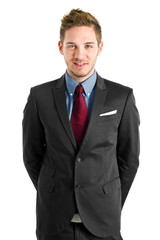 Handsome young businessman portrait isolated on white