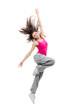 Modern teenage girl dancer dancing hip-hop and jumping